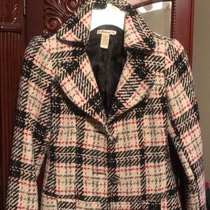 Women's plaid pea coat